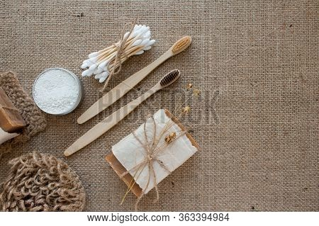 Set Of Natural Bathroom And Home Spa Tools. Zero Waste. Ecotolls Toothbrushes, Bamboo Swabs, Soap, D