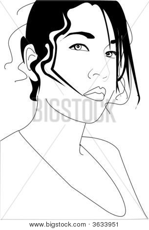 Hip Young Woman Line Drawing 2