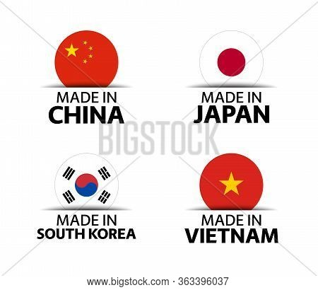 Set Of Four Chinese, Japanese, Korean And Vietnamese Stickers. Made In China, Made In Japan, Made In