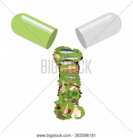 Iodine Healthy Nutrient Rich Food Vector Illustration
