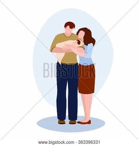 Dad And Mom With A Small Child Vector Illustration From Family Collection. Flat Cartoon Illustration
