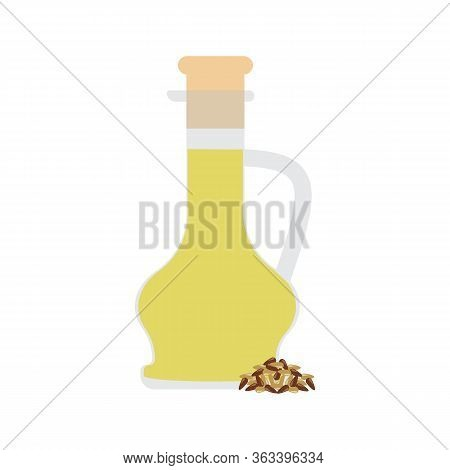 Linseed Organic Oil In Glass Bottle Vector Illustration