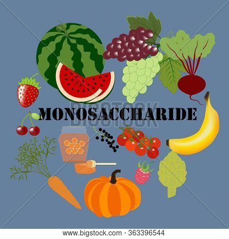 Monosaccharide Healthy Nutrient Rich Food Vector Illustration