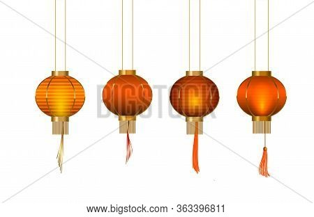 Set Of Chinese Lantern. Glow Paper Lantern With Traditional Elemets. Vector.