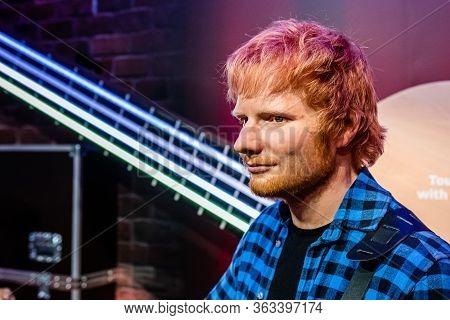 London, England, Uk - January 2, 2020: Waxwork Statues Of Ed Sheeran, Madame Tussauds Waxwork Museum