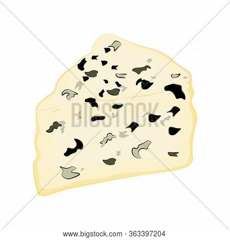 Roquefort Cheese Fresh Organic Dairy Product Vector Illustration