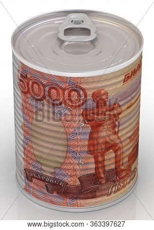 Tin Can With A Label In The Form Of A Banknote Of The Russian Ruble. Cash Reserve Funds. 3d Illustra
