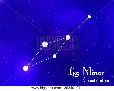 Leo Minor Constellation. Starry Night Sky. Cluster Of Stars, Galaxy. Deep Space. Vector Illustration