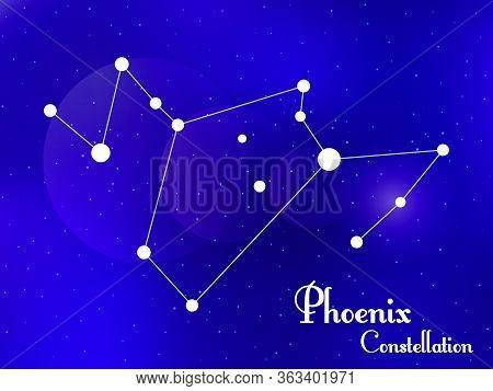 Phoenix Constellation. Starry Night Sky. Cluster Of Stars, Galaxy. Deep Space. Vector Illustration