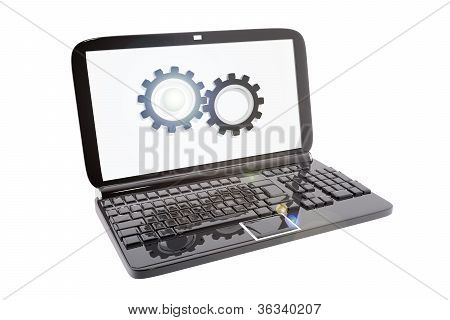 Laptop And Icon Of Technical Support