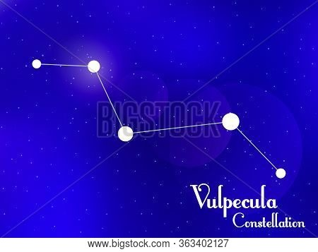 Vulpecula Constellation. Starry Night Sky. Cluster Of Stars, Galaxy. Deep Space. Vector Illustration