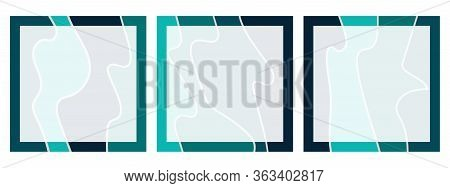 Set Of Square Backgrounds With Abstract Wavy Pattern For Social Networks With Place For Text. Bright