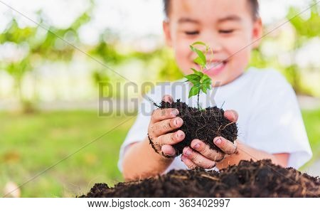 World Environment Day Environment Concept, Hand Of Asian Cute Little Cheerful Child Boy Holding Youn