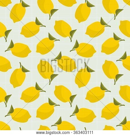 Summer Lemon Seamless Pattern. Summer Fruit Comcept.