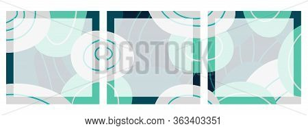 Set Of Square Backgrounds With Abstract Pattern For Social Networks With Place For Text. Chaotic Blu