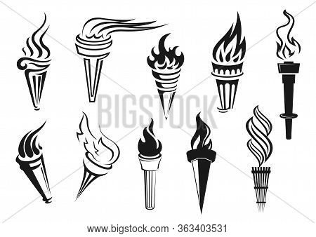 Torch, Vector Icons Of Sport Game Cup And Championship Victory Symbol. Fire Torch With Burning Flame