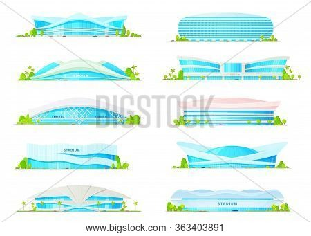 Arena Stadium Buildings, Vector Flat Icons. Football Soccer And Sport Games Modern Arena Building En