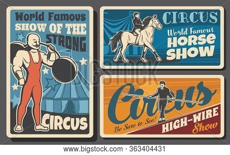 Circus And Funfair Carnival Entertainment Show, Vector Vintage Retro Posters. Shapito Big Top Circus