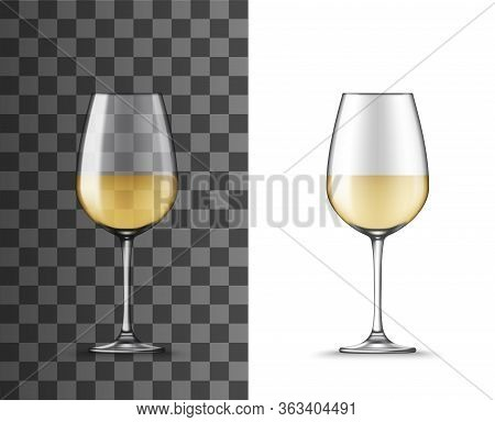 Wine Glass Cup With White Wine, Vector 3d Realistic Mockup. Wineglass With Narrow Bowl Shape For Swe
