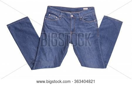 Blue Jeans Isolated On White Background.beautiful Casual Jeans Top View .