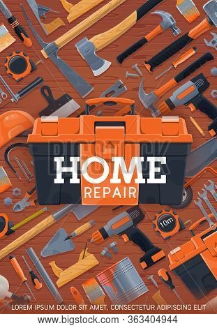 Construction, Home Repair And House Remodeling Work Tools, Vector Poster. Carpentry Woodwork And Mas