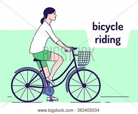 Young Girl Rides On Female Bike With Basket Vector Illustration. Healthy Lifestyle And Rest On Natur