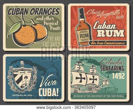 Cuba Travel, Vector Retro Vintage Posters, Havana Landmarks And City Sightseeing Tours. Viva Cuba, C