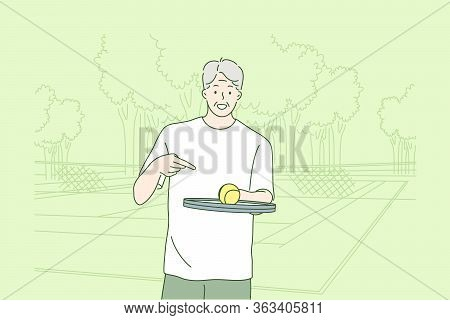 Old Man Playing Tennis Concept. Happy Grandfather Oldster Senior Citizen Cartoon Character Standing