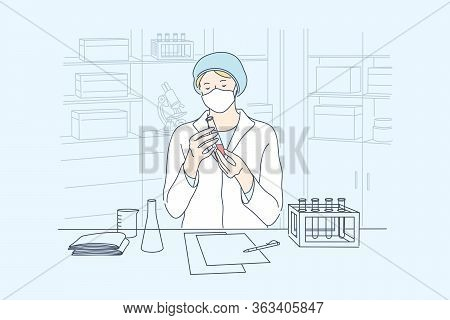 Science, Coronavirus, Chemistry, Medical Vaccine Concept. Young Woman Doctor Worker In Medical Face
