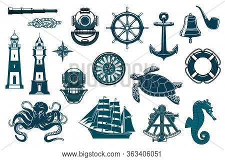 Marine Icons, Nautical Seafaring And Sailing Vector Vintage Symbols. Ship Anchor And Helm, Captain S