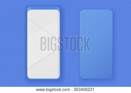 Smartphone Two Layout Presentation Mockup In Blue Color. Example Frameless Model Mobile Phone With T