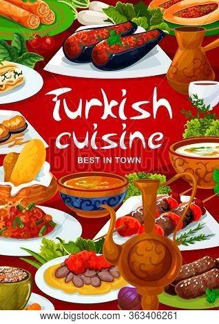 Turkish Cuisine Restaurant Menu, Turkey National Food Fishes Vector Poster. Turkish Traditional Iske
