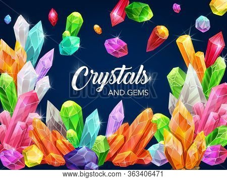 Gem Crystals, Precious Gemstones And Jewels Shining Sparkles, Vector Poster. Rhinestone Crystals And