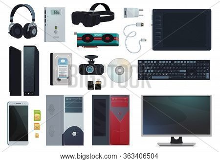 Electronic Gadgets, Digital Technology Devices And Computer Appliances, Vector Items. Mobile Phone S