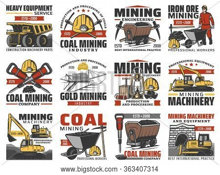 Mining Industry, Coal Mine Machinery And Miner Equipment, Vector Icons. Coal Mining Metal And Iron O