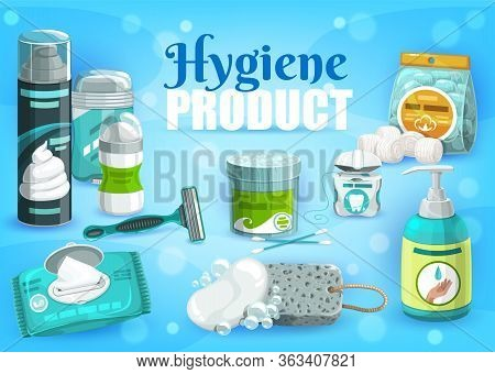 Hygiene Personal Health Care Products, Man And Woman Daily Use Vector Items. Shaving Razor, Foam And