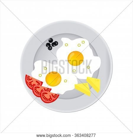 Tasty And Nutritious Breakfast - Two Fried Eggs With Cream Cheese And Ripe Tomato Slices And Olives