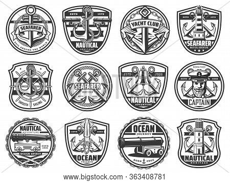 Marine Vector Icons, Yacht Club And Seafarer Nautical Heraldic Signs. Ocean Journey And Nautical Adv