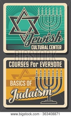 Jewish Religion And Culture, Vector Retro Vintage Posters, Judaism Cultural Center And Hebrew Course