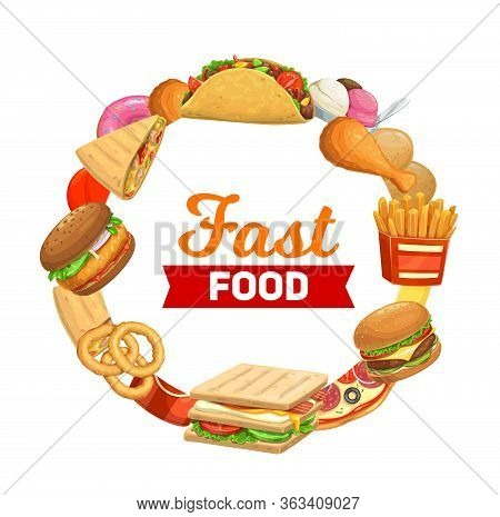 Fast Food Vector Menu, Bistro And Restaurant Pizza, Burgers And Fastfood Sandwiches. Food Court Post