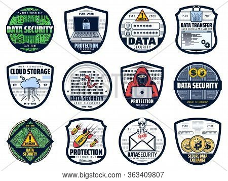 Internet Data Security, Cloud Storage And Personal Information Access Protection, Vector Icons. Bitc