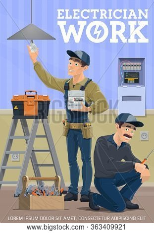 Electrician Home Service, Vector Poster, House Electrical Works. Electricity Meters Repair And Insta