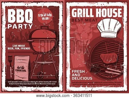 Barbecue Grill And Picnic Party, Vector Vintage Grunge Poster. Charcoal Bbq Meat And Burgers Grill B