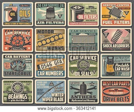Cars Auto Service, Mechanic Garage Station And Spare Parts Shop, Vector Vintage Posters. Automotive