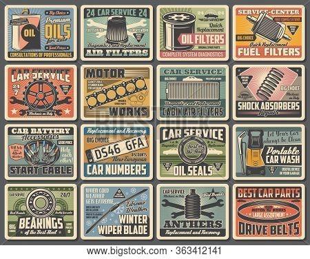 Cars Auto Service, Mechanic Garage Station And Spare Parts Shop, Vector Vintage Posters. Automotive