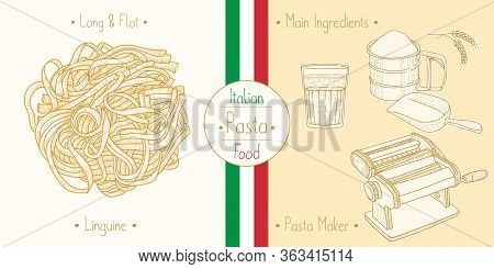 Cooking Italian Food Linguine Pasta And Main Ingredients And Pasta Makers Equipment, Sketching Illus