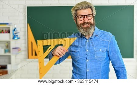 Theorem. Talented Teacher. Math Subject. Geometry And Algebra. Science Concept. Mature Bearded Teach
