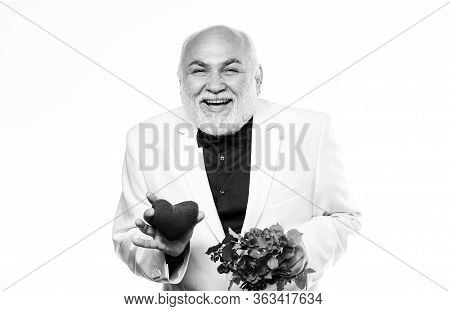 Senior Gentleman Romantic Soul. Man Hold Heart Symbol Of Love. Dating Services For Elderly People. G