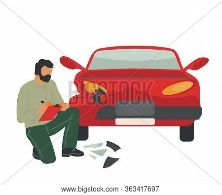 Insurance Or Car Crash Inspetor Expertise Vehicle After Road Accident. Automobile Damage Inspection.