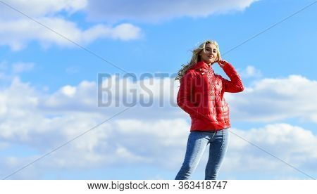 Wind Of Changes. Female Psychology. Woman Fashion Model Outdoors. Woman Enjoy Cool Weather. Matching